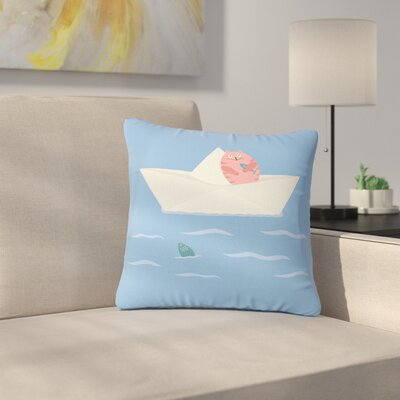Cristina Bianco Cat & Paper Boat Outdoor Throw Pillow Size: 16 H x 16 W x 5 D