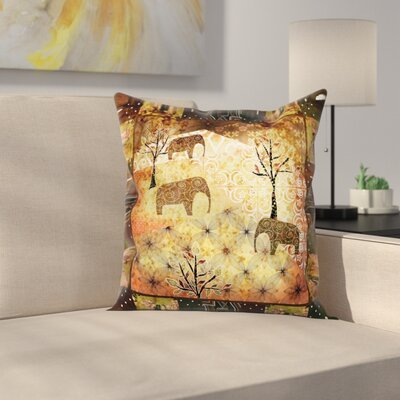 African Grunge Elephants Roses Square Pillow Cover Size: 20 x 20