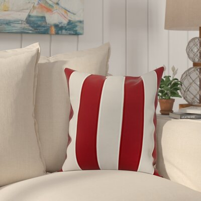 Crider Stripe Print Indoor/Outdoor Throw Pillow Color: Red, Size: 18 x 18