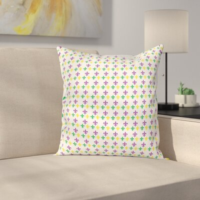 Mardi Gras Carnival Lily Flower Square Cushion Pillow Cover Size: 16 x 16