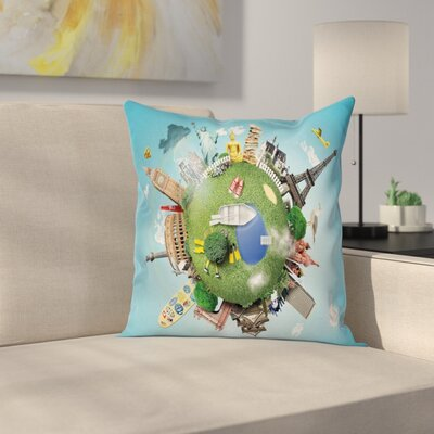 Historic Landmarks Travel Square Pillow Cover Size: 24 x 24