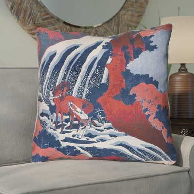 Channelle Horse and Waterfall 100% Cotton Pillow Cover Color: Red/Blue