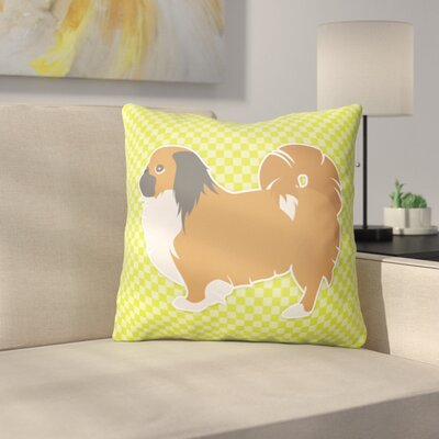 Pekingese Square Indoor/Outdoor Throw Pillow Size: 14 H x 14 W x 3 D, Color: Green