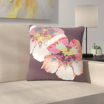 Love Midge Graphic Flower Nasturtium Floral Outdoor Throw Pillow Size: 18 H x 18 W x 5 D, Color: Lavender