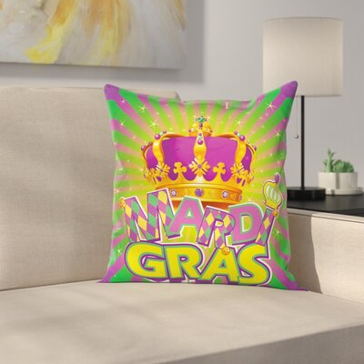 Mardi Gras Antique Crown Retro Square Cushion Pillow Cover Size: 20 x 20