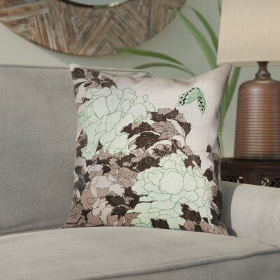 Clair Peonies and Butterfly Square Suede Pillow Cover Size: 26 H x 26 W, Color: Green