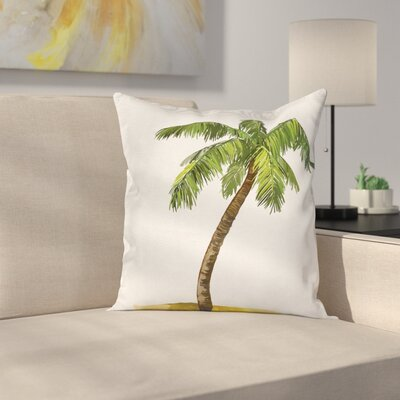 Tropical Cartoon Palm Trees Square Pillow Cover Size: 18 x 18