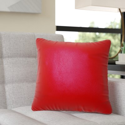 Dorine Leather Throw Pillow Color: Red