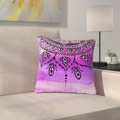Li Zamperini Mandala Abstract Outdoor Throw Pillow Size: 18 H x 18 W x 5 D, Color: Lilac