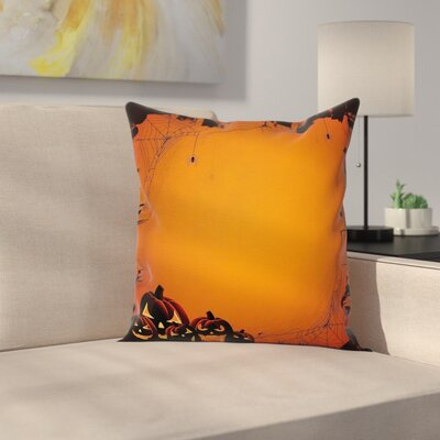 Halloween Pumpkin Scary Square Pillow Cover Size: 18 x 18