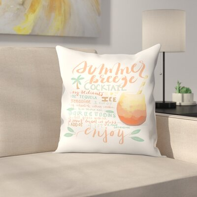 Jetty Printables Summer Breeze Cocktail Recipe Throw Pillow Size: 20 x 20