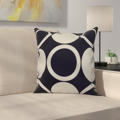 Meekins Mod Circles Geometric Print Indoor/Outdoor Throw Pillow Color: Navy Blue, Size: 16 x 16