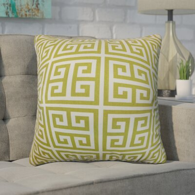 Dufault Greek Key Cotton Throw Pillow Cover Color: Village Green Natural