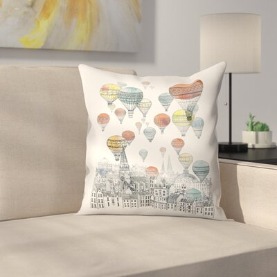 Voyages Over Edinburgh Throw Pillow Size: 14 x 14