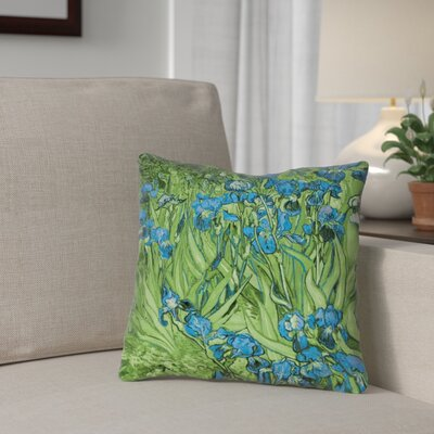 Morley Irises Square Throw Pillow Size: 16 x 16, Color: Green/Blue