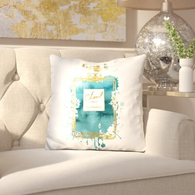 Melia Perfume Bottle Throw Pillow Color: Gold Dark Teal