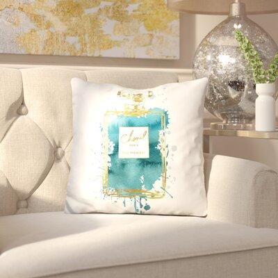 Melia Perfume Bottle Throw Pillow Color: Gold Dark Teal