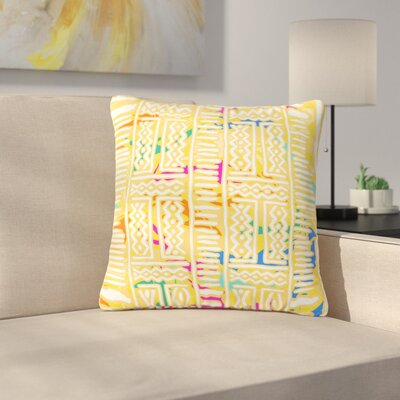 Dan Sekanwagi Lines and Zigzags Tribal Outdoor Throw Pillow Color: Yellow, Size: 16 H x 16 W x 5 D