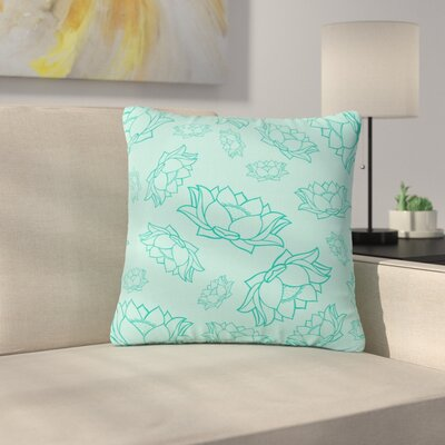 Lotus Pattern Floral Outdoor Throw Pillow Size: 16 H x 16 W x 5 D, Color: Teal