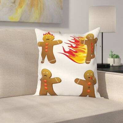 Gingerbread Man Funny Figures Square Pillow Cover Size: 24 x 24