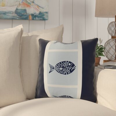 Bartow Fish Chips Outdoor Throw Pillow Size: 18 H x 18 W x 3 D, Color: Navy Blue