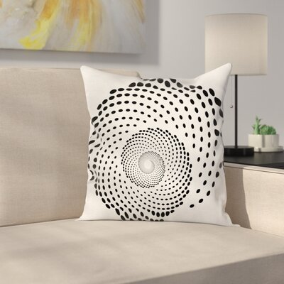 Spiral Monochrome Square Pillow Cover Size: 18 x 18