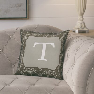 Krahn Damask�Monogram Throw Pillow Letter: T