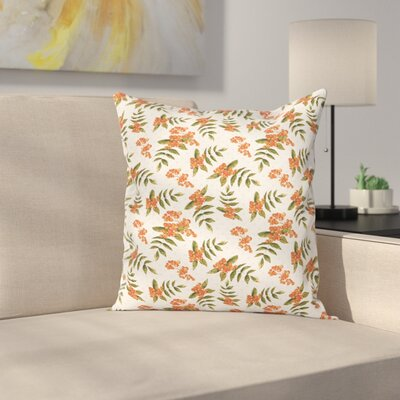 Botanical Foliage Nature Square Pillow Cover Size: 16 x 16