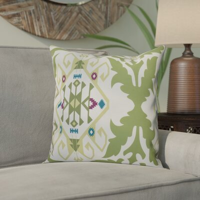 Meetinghouse Bombay Medallion Geometric Outdoor Throw Pillow Size: 18 H x 18 W, Color: Green