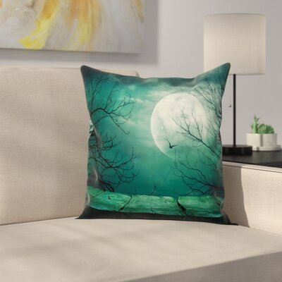 Spooky Forest Moonlight Square Pillow Cover Size: 20 x 20