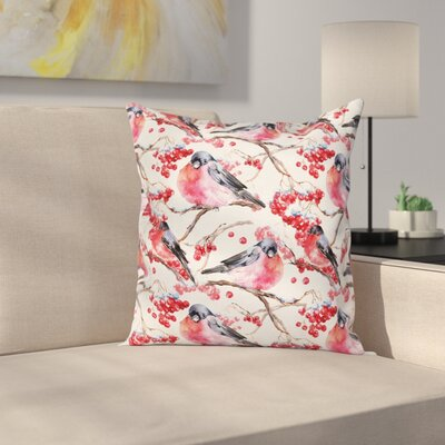 Birds Branches Berries Square Pillow Cover Size: 18 x 18