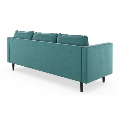 Cozad Mod Velvet Sofa Upholstery: Blue Topaz, Finish: Black