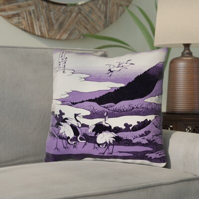 Montreal Japanese Cranes Outdoor Throw Pillow Size: 18 x 18 , Pillow Cover Color: Purple