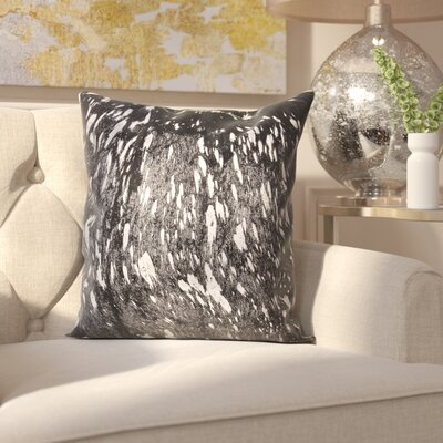 Surrey Leather Throw Pillow Color: Black Silver