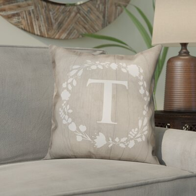 Orme Wreath Monogram Throw Pillow Letter: T