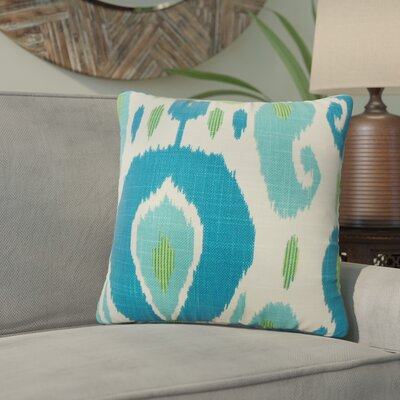 Corena Ikat Cotton Throw Pillow Color: Green