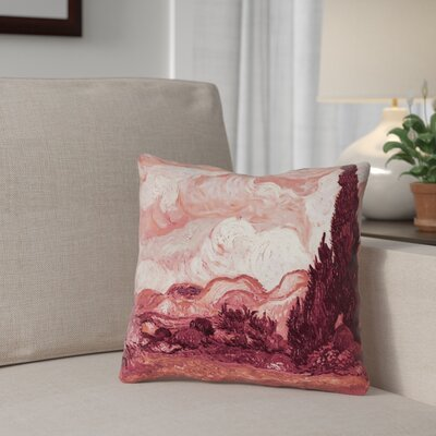 Bristol Woods Square 100% Cotton Pillow Cover Color: Red, Size: 18 x 18