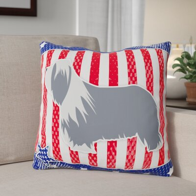 Patriotic USA Bearded Collie Indoor/Outdoor Throw Pillow Size: 18 H x 18 W x 3 D