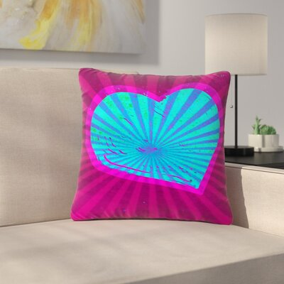 Anne LaBrie Love Beams Outdoor Throw Pillow Size: 18 H x 18 W x 5 D, Color: Pink/Blue