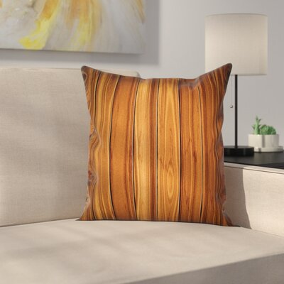 Rustic Timber Wooden Square Pillow Cover Size: 24 x 24