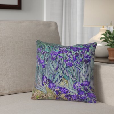 Morley Irises Square 100% Cotton Pillow Cover Color: Purple, Size: 14 x 14