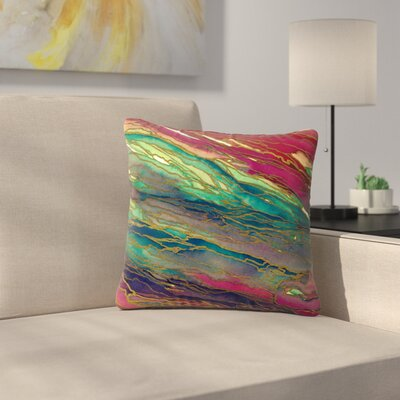Agate Magic Throw Pillow Size: 18 H x 18 W x 6 D, Color: Bold Red / Aqua