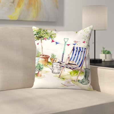Blue Striped Deckchair Throw Pillow Size: 14 x 14