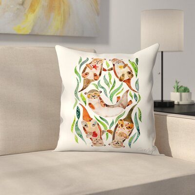 Five Otters Throw Pillow Size: 18 x 18