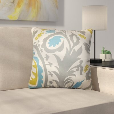 Driskill Stukes Floral Cotton Throw Pillow Color: Sky Blue/Green