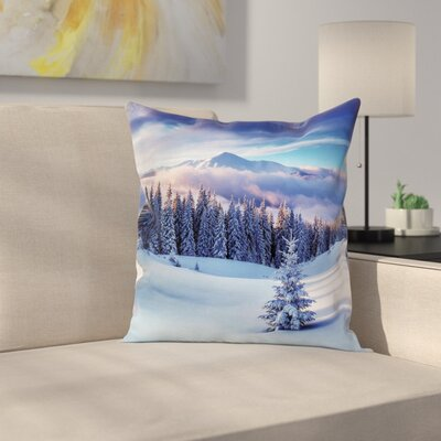 Winter Mountain Peaks Snowy Square Pillow Cover Size: 18 x 18