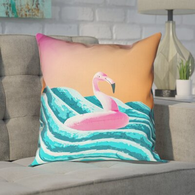 Enciso Sun and Surf Flamingo Float Pillow Size: 14 x 14, Type: Pillow Cover, Material: Linin