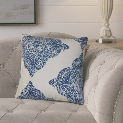 Barta Damask Cotton Throw Pillow Color: Indigo