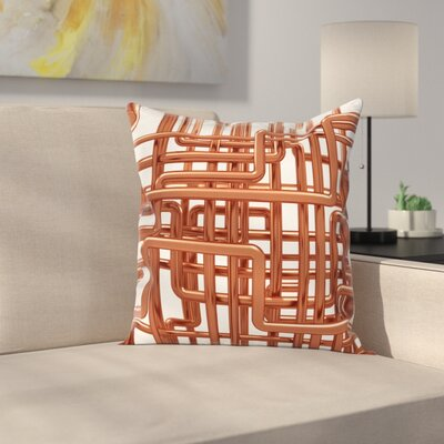 Entangled Pipes Square Pillow Cover Size: 24 x 24