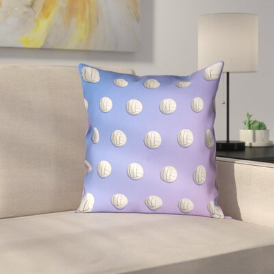 Volleyball Suede Pillow Cover Size: 14 x 14, Color: Blue/Purple